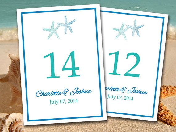 Beach Wedding Table Number Template | Starfish Teal Horizon Blue Microsoft Word Template | 5x7 Wedding Table Number | Destination Wedding by PaintTheDayDesigns on Etsy, $10.00