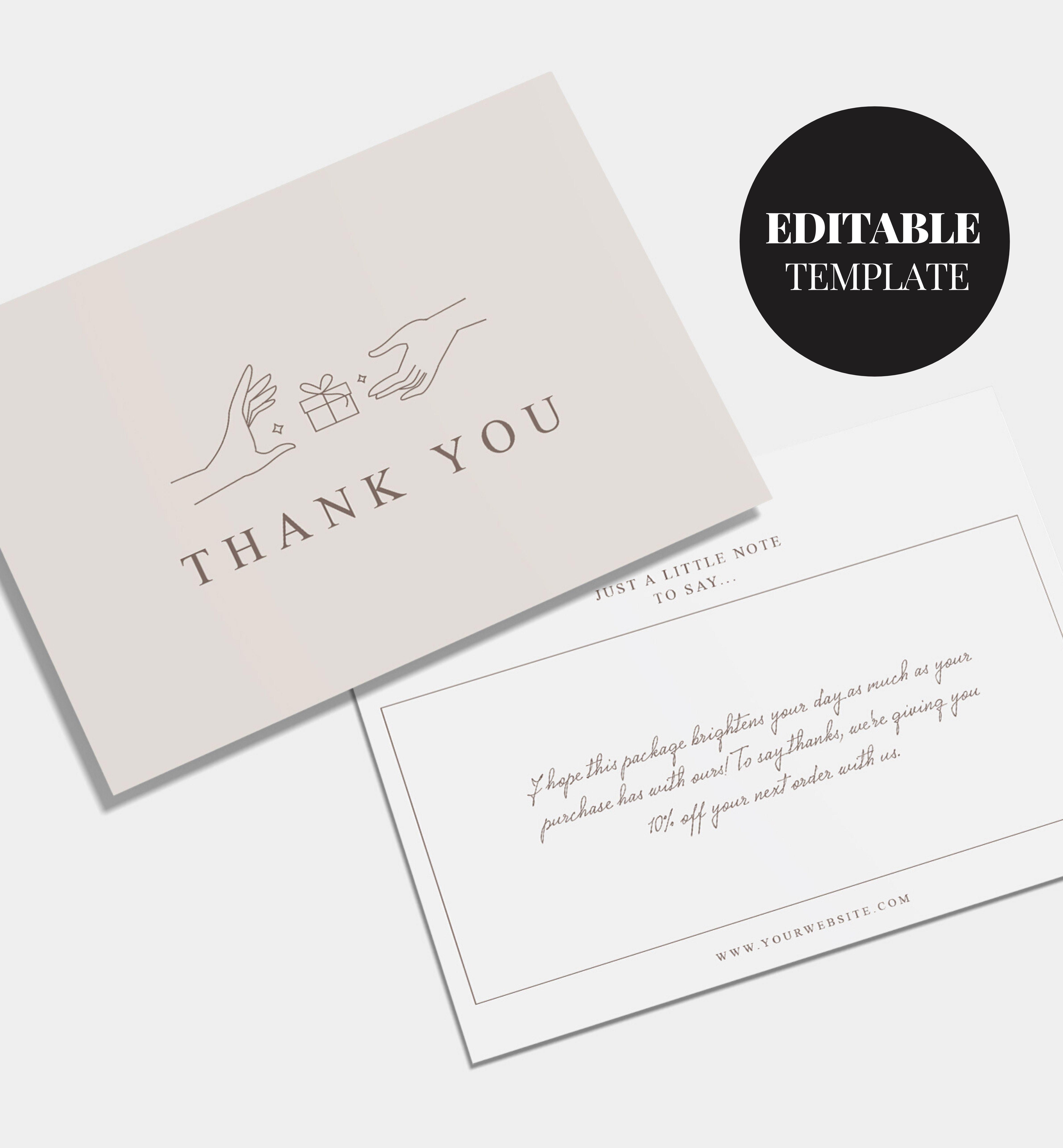Editable Business Thank You Card Printable Thank You For Your Order Customer Thank You Kartu Nama Bisnis Kartu Nama Ide Kemasan