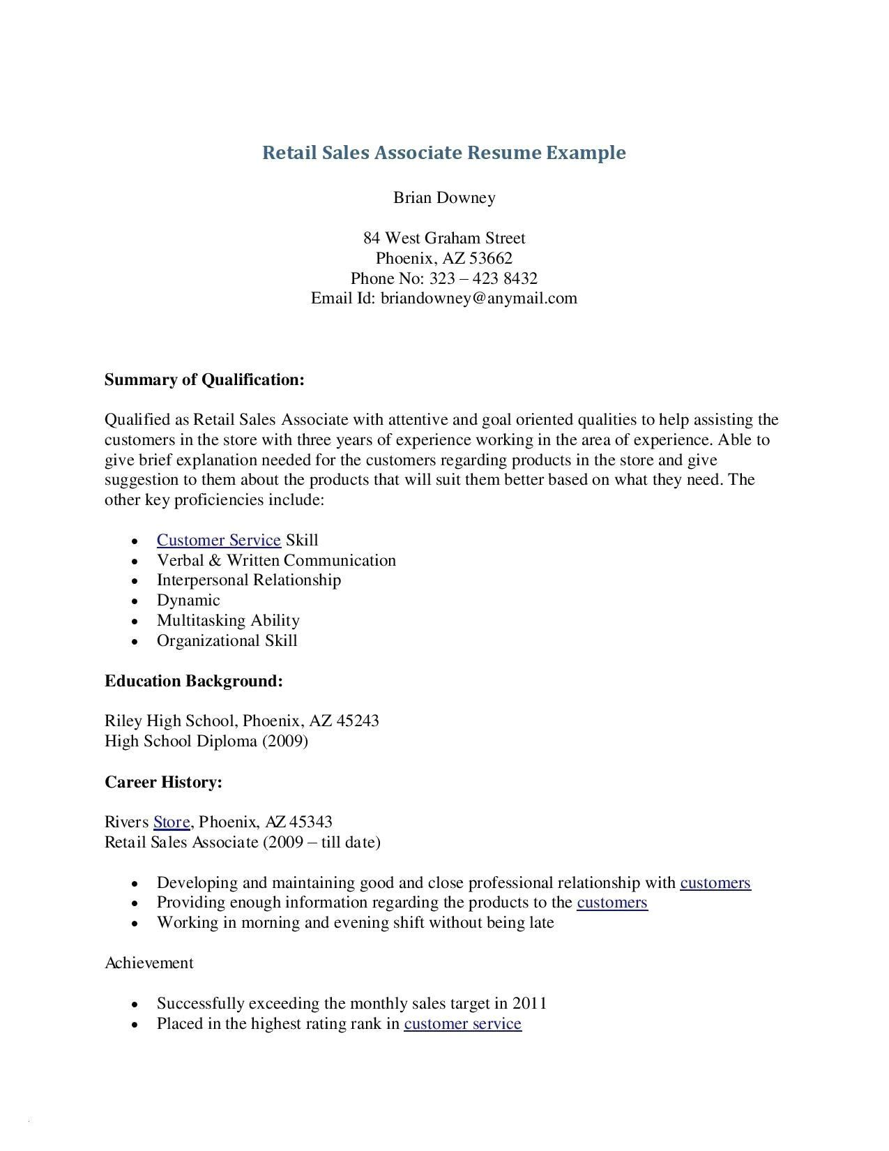 Sales Associate Resume Description 9 Retail Resume No Experience Sample Samples Resume Examples Resume Skills Resume No Experience
