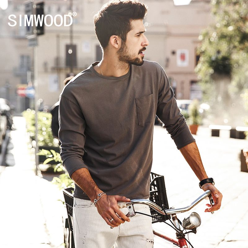 6a66eecbebb24 Price tracker and history of SIMWOOD 2017 New Spring T shirts Men Long  sleeve Pure Cotton Fashion Brand Clothing Slim Fit Plus Size