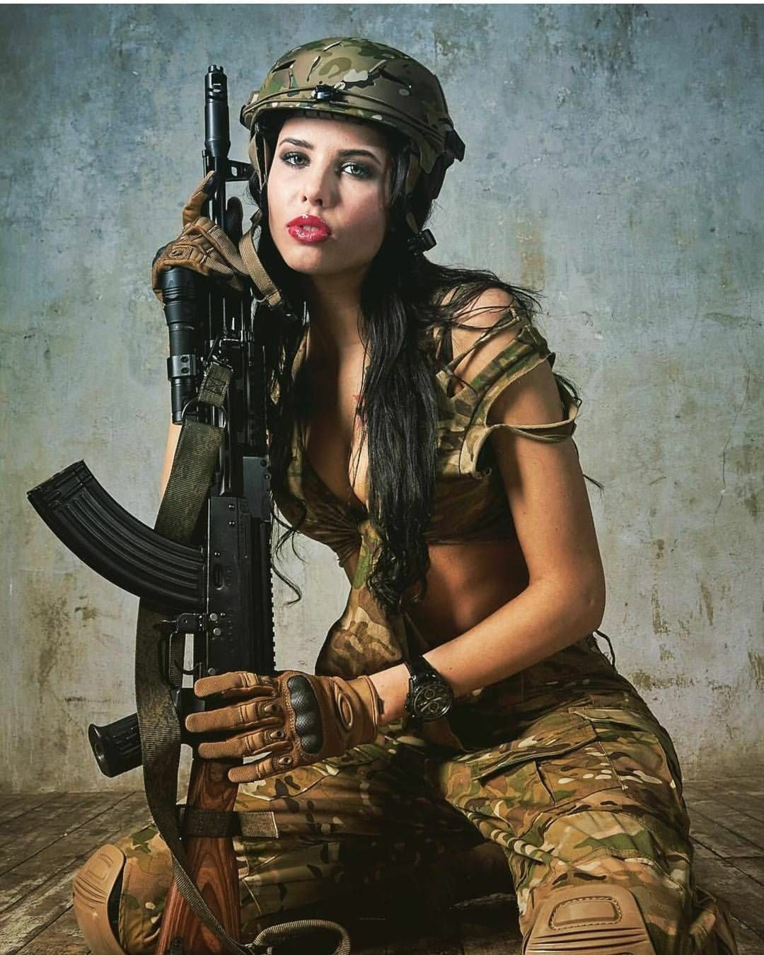 Army female wife calendar picture