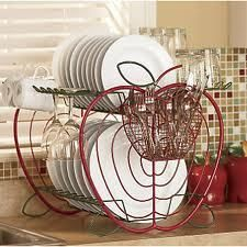 NEW LARGE CAPACITY RED APPLE KITCHEN COUNTER DISH DRAINER