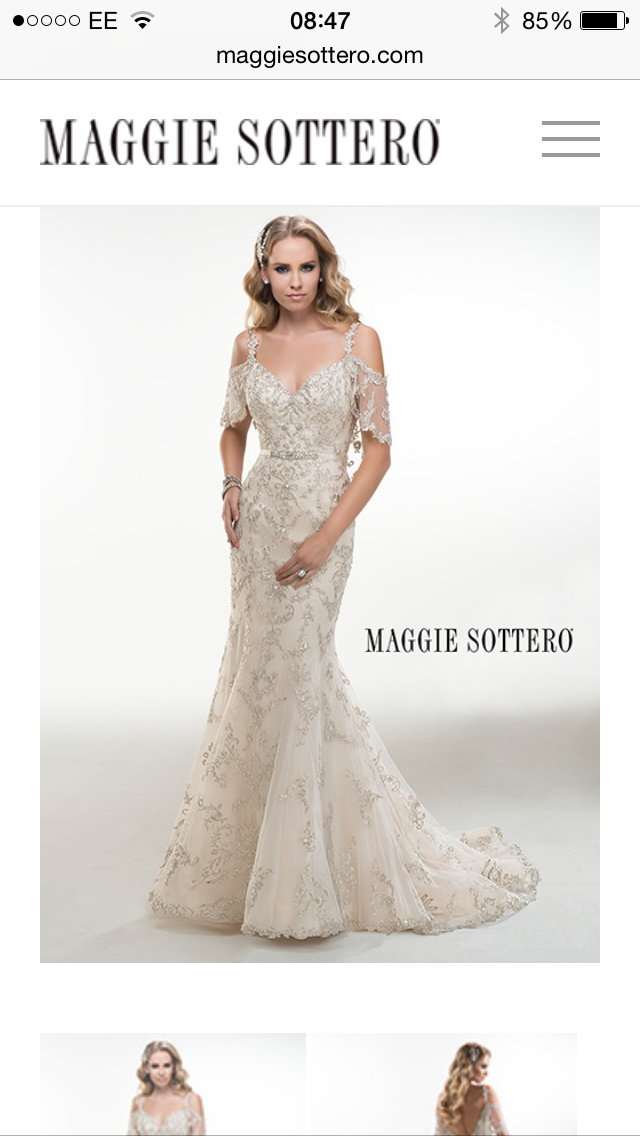 Illusion Cold Shoulder Flutter Sleeves Adorn This Dazzling Swarovski Crystal Embroidered A Line Wedding Dress Maurine By Maggie Sottero