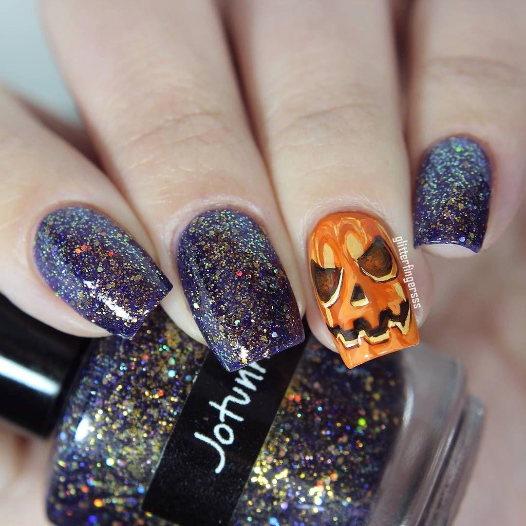 Halloween Inspired Jack-o-lantern Nails | Nails, Horror ...