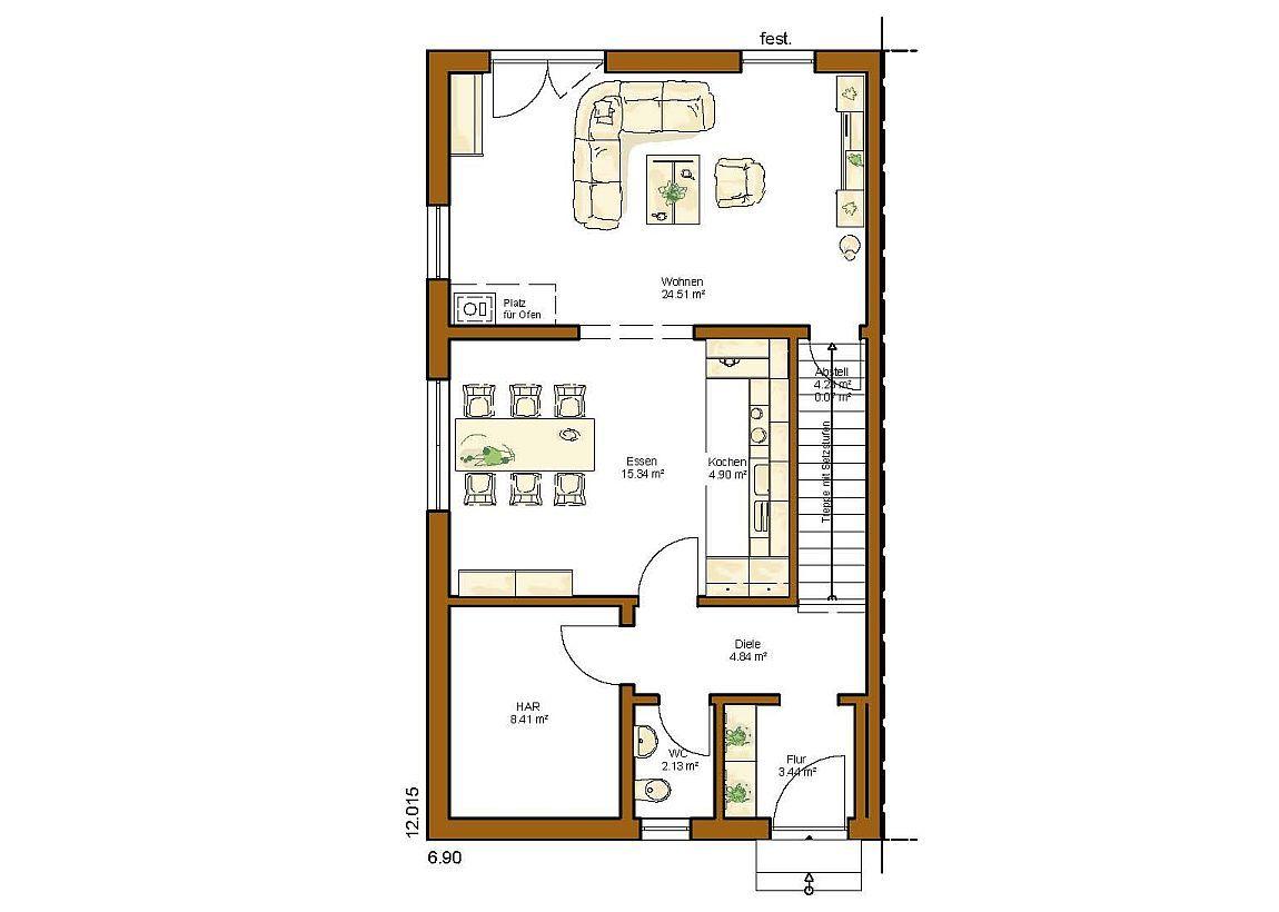 Grundriss einfamilienhaus modern gerade treppe  CLOU 132 Grundriss Erdgeschoss gerade Treppe | Häuser und ...
