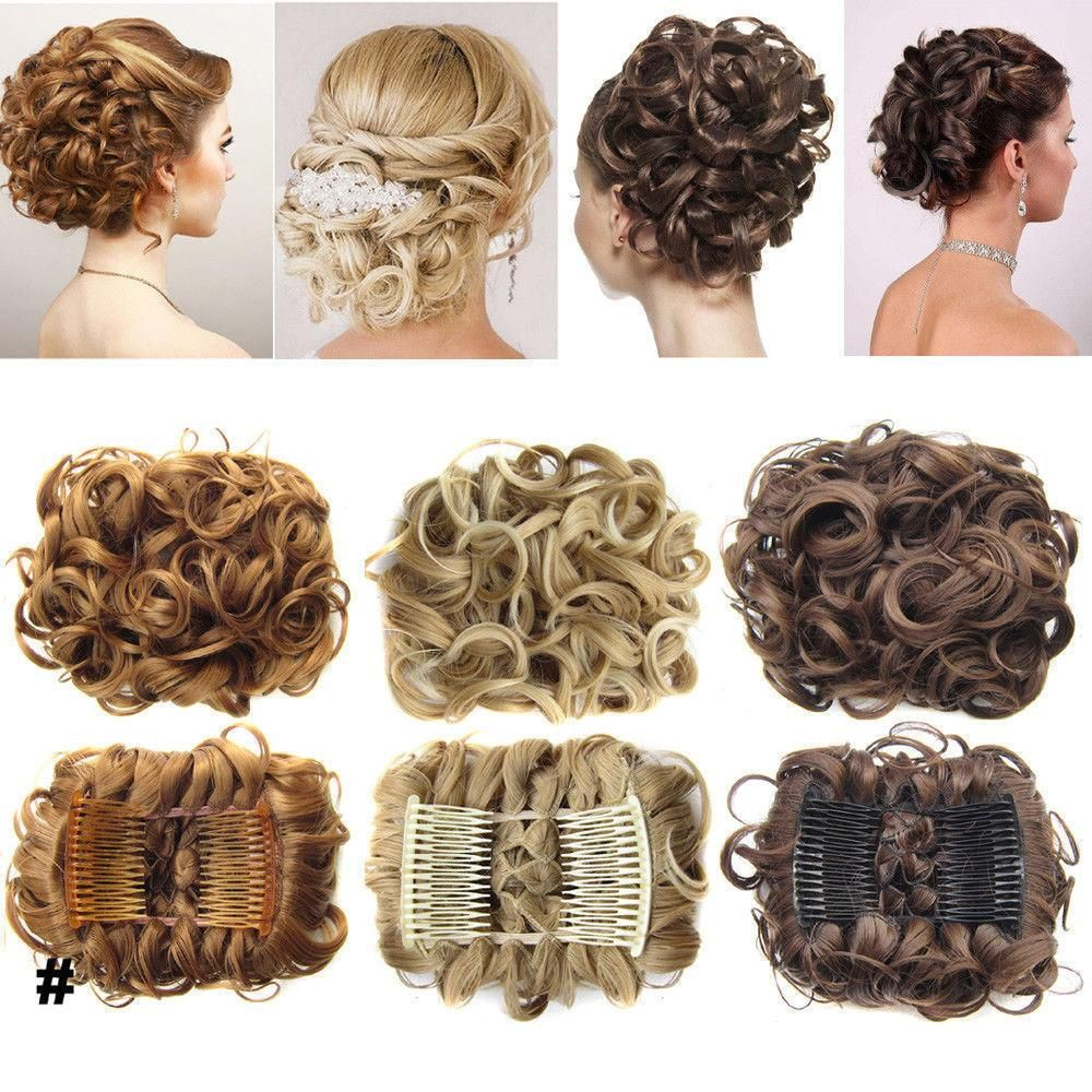 Hairpiece Extension Hair Bun Updo Cover Messy Rose Hair Scrunchies Synthetic Hair Pieces Large Comb Clip In Curly Chignon Curly Hair Pieces Bun Hairstyles Curly Hair Styles