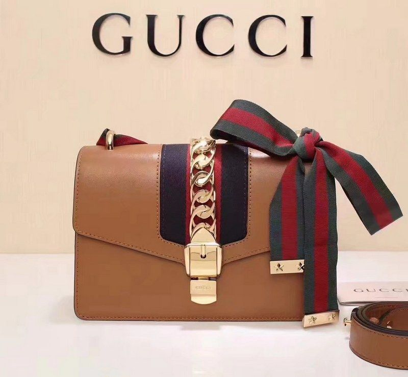 f7fd6e730 Gucci Sylvie Leather Shoulder Bag 421882 Brown Size: W25.5cm x H17cm x 8cm  Comes with: dusty bag, authetic cards, care booklet