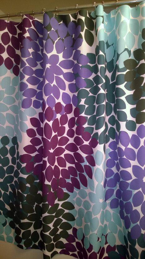 Shower Curtain In Purple Blue Green Inspired By Swirledpeasdesigns