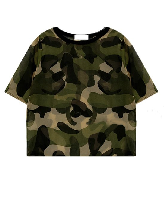 fde50a05fdf Camouflage Print Chiffon T-Shirt