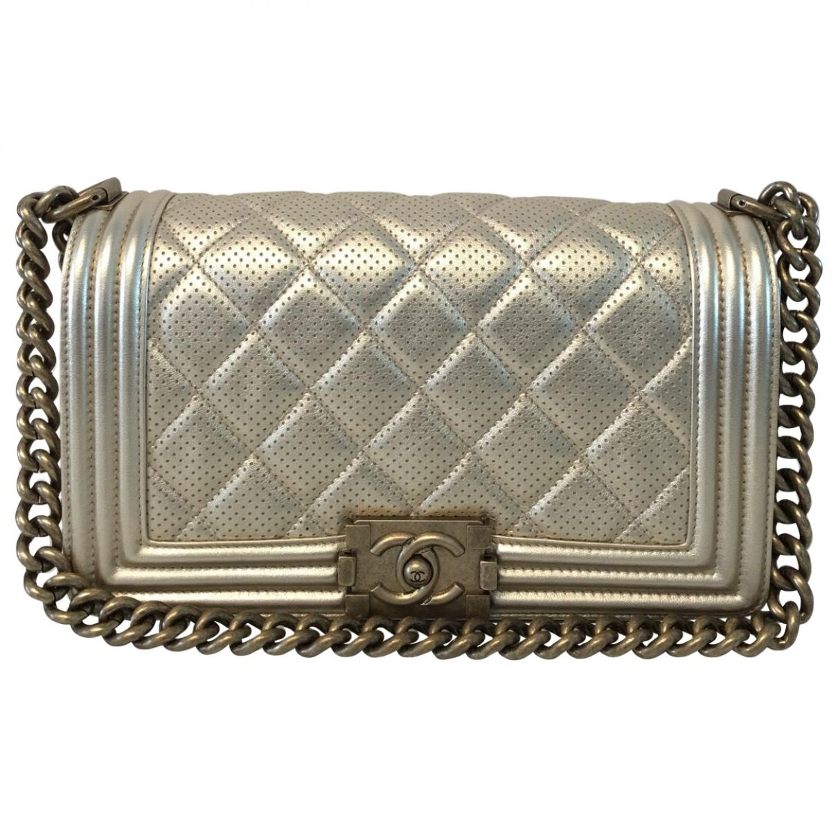 c48f78b36170 Chanel Metallic Boy Bag Perforated Leather | Vestiaire Collective ...