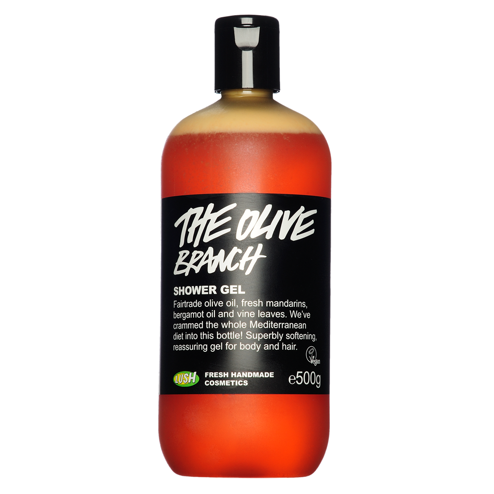 Lush Olive Branch shower gel. Contains Mandarin oranges, bergamot oil and vine leaves to give soft skin and relaxing smell