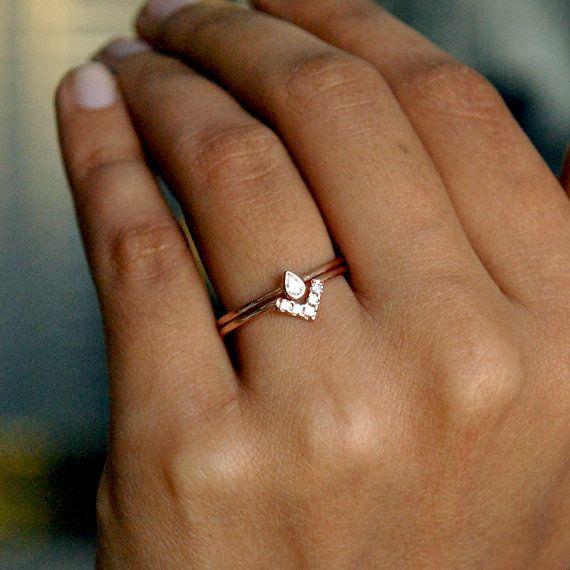 Wedding Ring Set 14k Rose Gold Pear Baby Diamond Bridal Etsy Diamond Wedding Sets Bridal Engagement Rings Diamond Wedding Bands