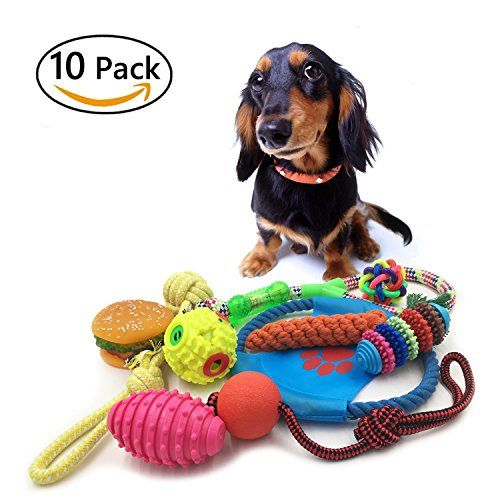 10 Pack Dog Toy Set Ball Rope And Chew Squeaky Toys For Small