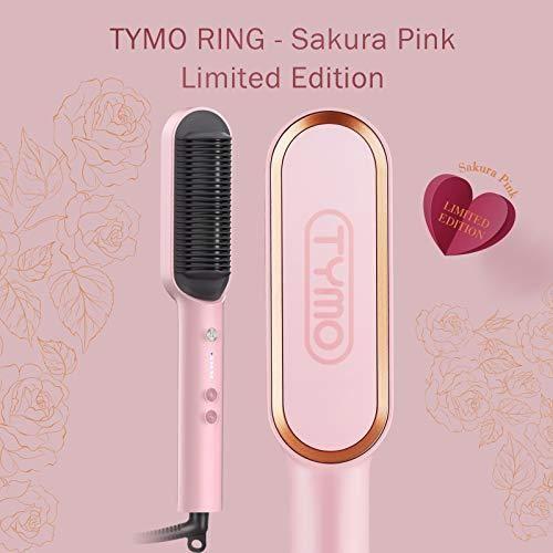 TYMO Ring Pink Haarglätterbürste – Haarglättungsbügeleisen mit eingebautem Kamm