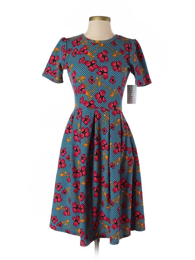 0f12f9fe3e4 New Women Lularoe Amelia Navy Blue White Polka Dot Red Flower Dress Size S  #Lularoe #ALineDressfitflare #Casual