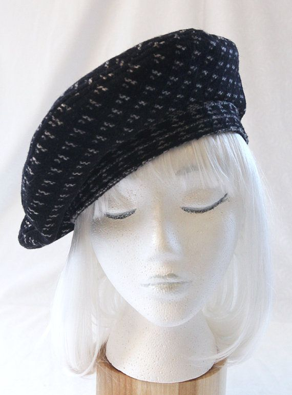d5e37b54670f Funky Black Wool Beret, Silk-Lined by Silverhill Creative on Etsy, (sold)