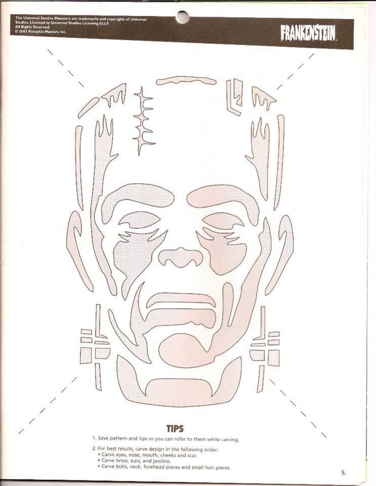 Frakenstein\'s Monster carving pattern. | Proyectos que debo intentar ...