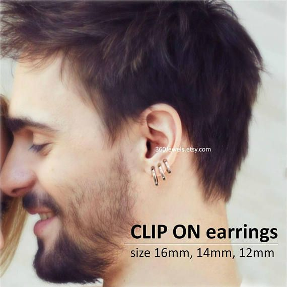 Clip On Earring For Men Hoop Nose Ring Ear Cartilage Plain Huggie H