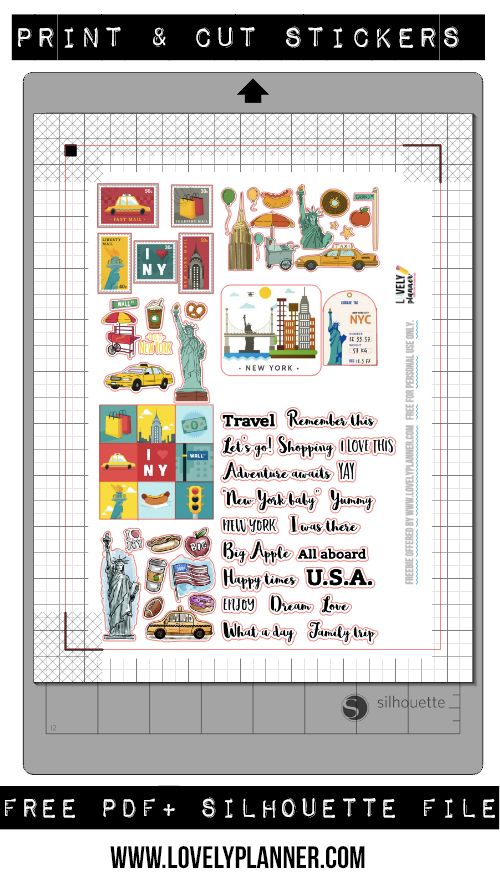 Download this set of free new york travel stickers for your travel journal planner