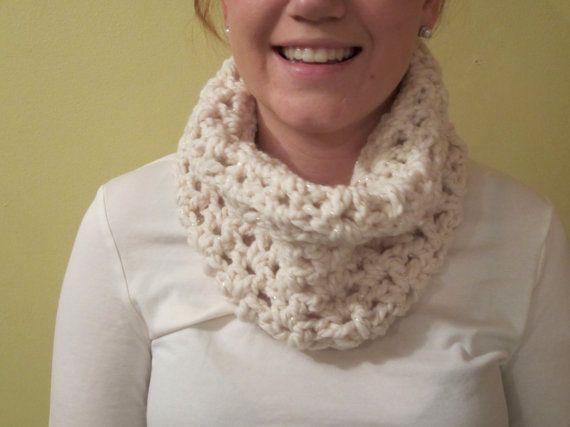 Crochet Cowl chunky wool in White by LarkspurCrochet on Etsy, $25.00