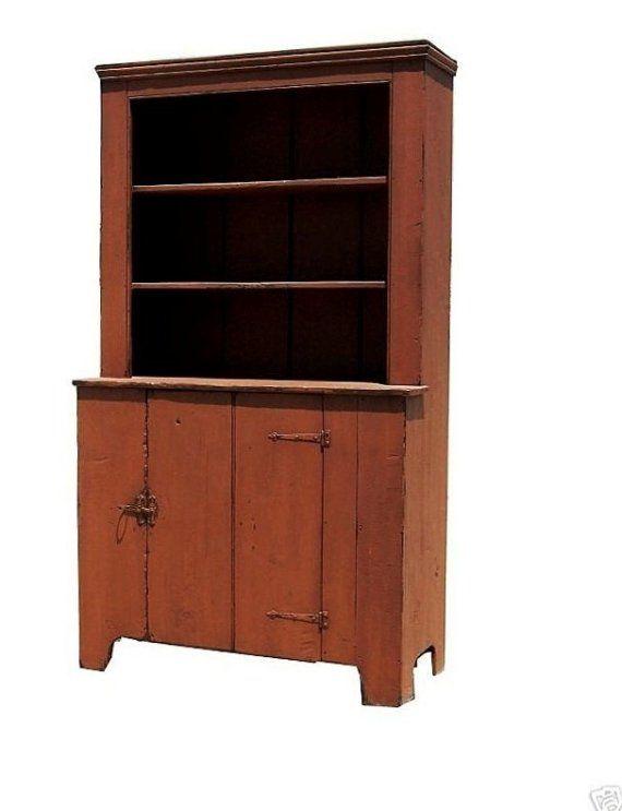 Superior Farmhouse Furniture Primitive Step Back Country Cupboard Hutch Antique  Reproduction China Cabinet Furniture