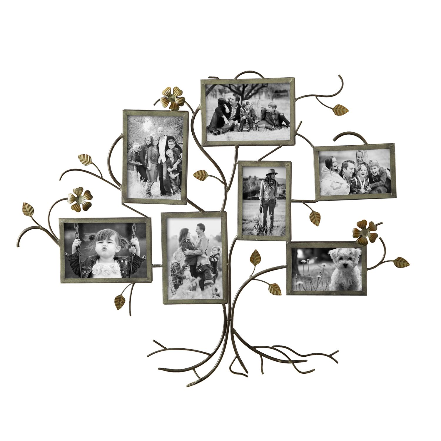 Family Tree Picture Frame Wall Hanging adeco decorative bronze-color iron tree wall hanging collage