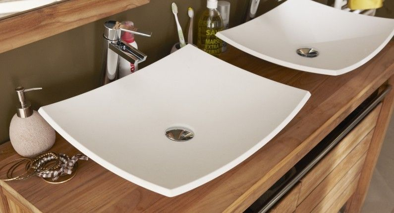 Double Vasque A Poser Pour Un Style Nature Et Blanc Vasque A Poser Vasque Deco Salle De Bain