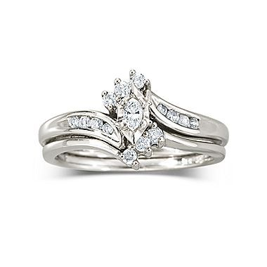 1 4 Ct T W Diamond 10k White Or Yellow Gold Wedding Ring Set Yellow Gold Wedding Ring Sets Wedding Rings Sets Gold Wedding Ring Sets