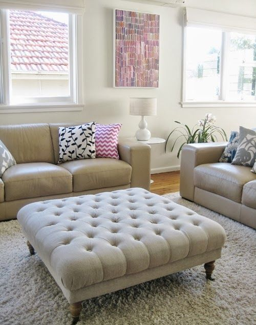 Using Coffee Table Over Ottoman Condo Living Room Trendy Living