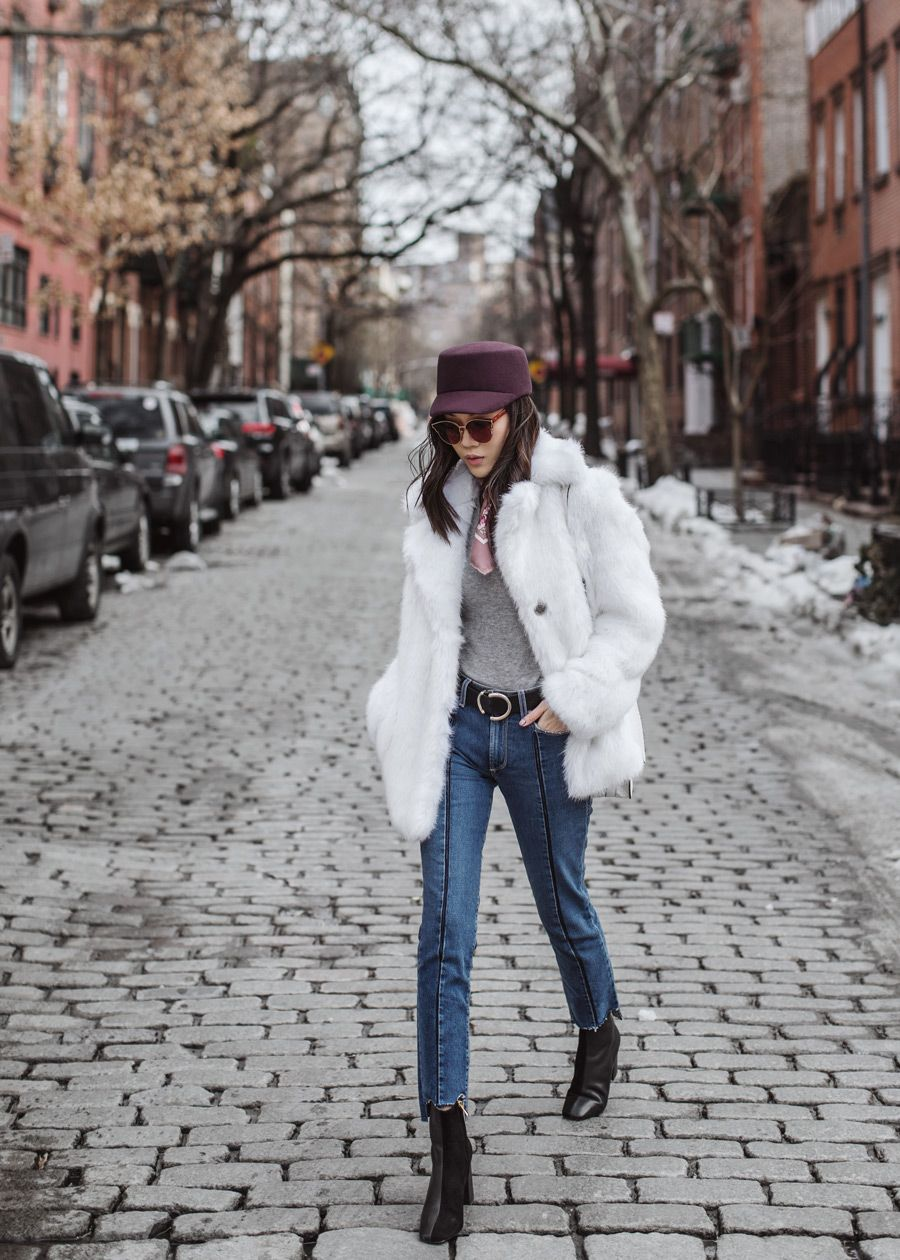Paige, Vintage Collection, Vintage Denim, Gentle Monster, Michael Kors Faux Fur Coat, Gucci pink scarf, NYFW, Jaggar Boot
