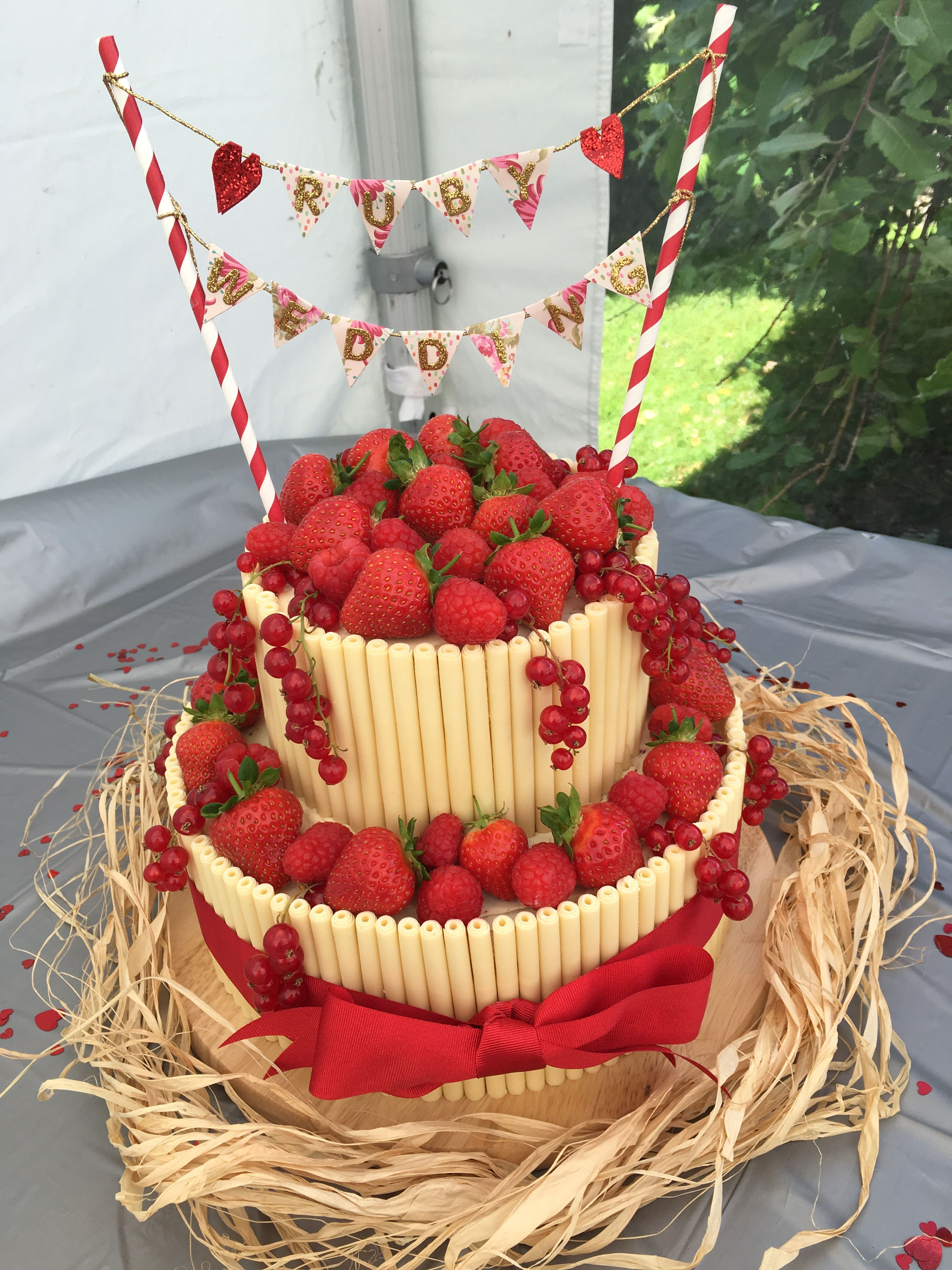 Vintage Shabby Chic Classy Ruby Wedding Anniversary Red Velvet Cake With Fruits White Chocolate Cigarillos And Homemade Banner