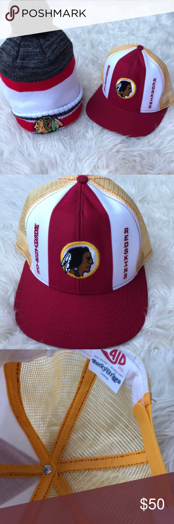 f71040d671f Washington Redskins Hat NHL Reebok Collection Pom You will receive these  two hats The Washington Redskin Material 100% Nylon Size: Large Reebok NHL  Size One ...