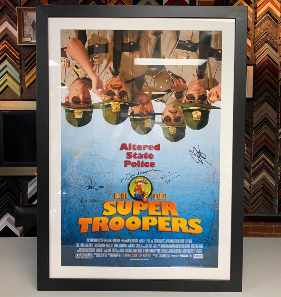 Check out this custom framed signed Super Troopers poster