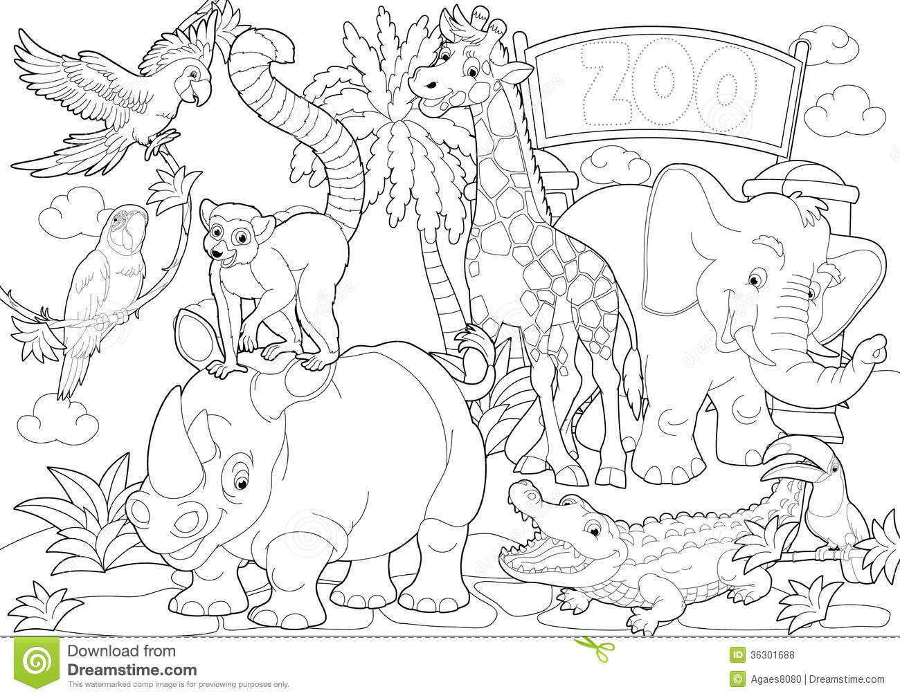 Coloring page the zoo illustration for the children royalty | Clip ...