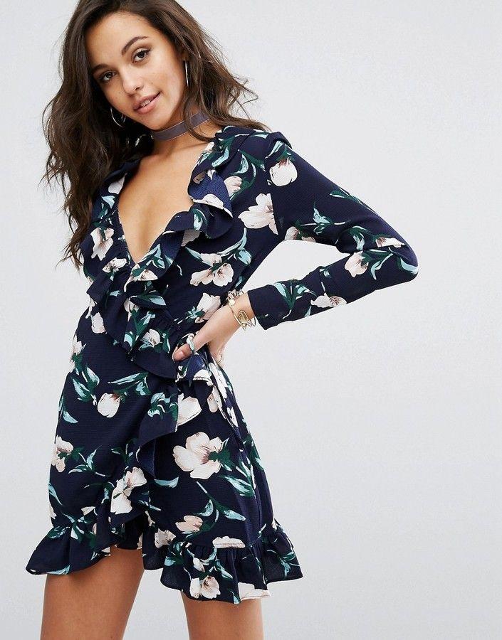 f0ddfd5e6ac PrettyLittleThing Prettylittlething Floral Ruffle Wrap Mini Dress   michaelOXOXO  JonXOXOXO  emmaruthXOXO  emmammerrick  PRETTYLITTLETHING