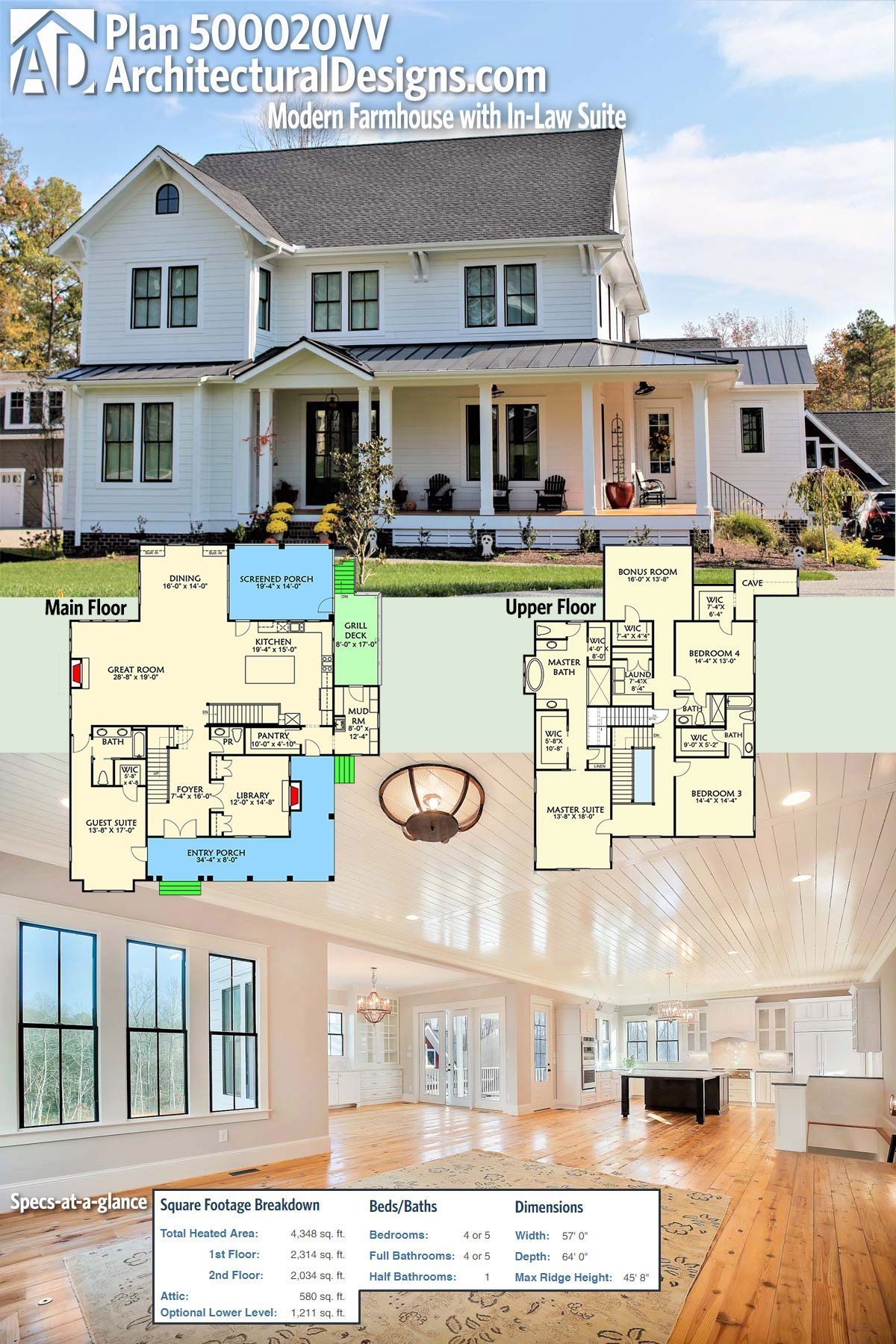 Architectural designs modern farmhouse plan 500020vv has an l shaped front with an a private entry to a guest suite perfect for an in law or nanny suite