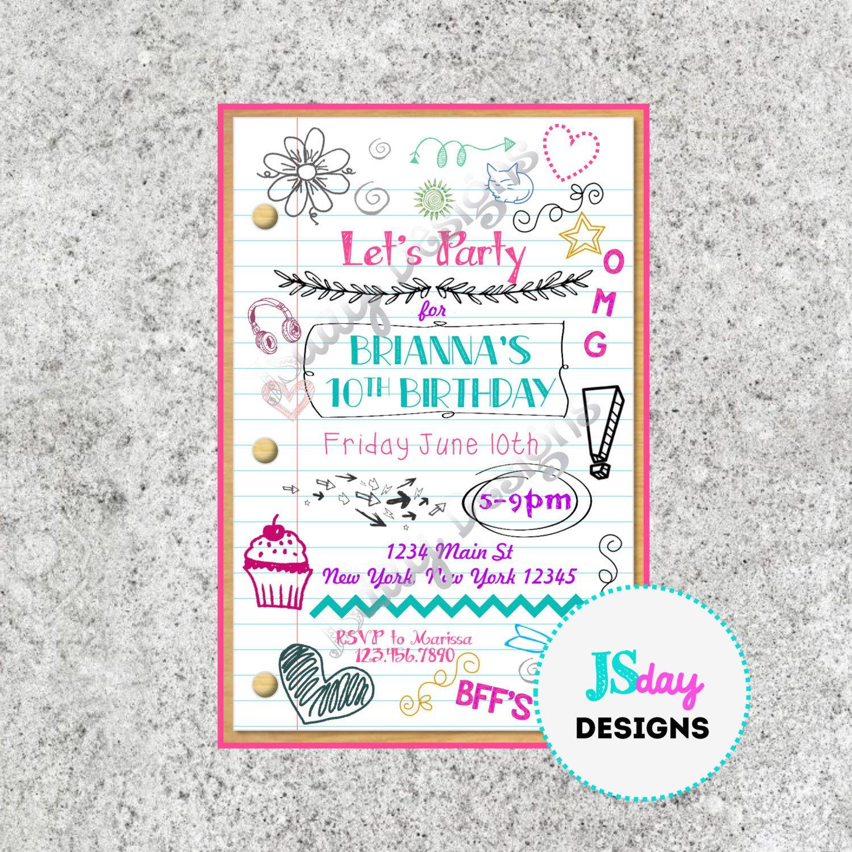 Tween Teen Birthday Invitation Tween Birthday Teen