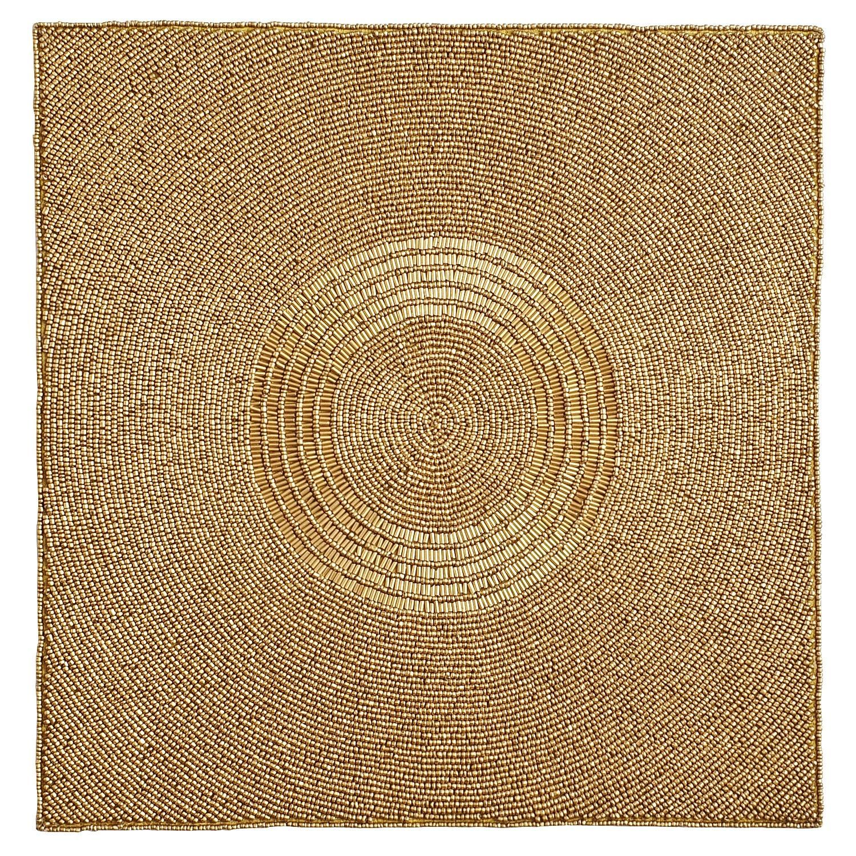 matte golden beaded square placemat products table linens linen placemats matte gold. Black Bedroom Furniture Sets. Home Design Ideas