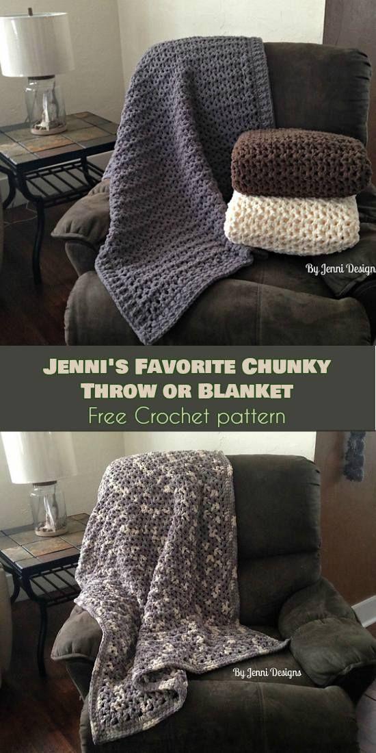Easy] Jenni\'s Favorite Chunky Throw or Blanket [Free Crochet Pattern ...