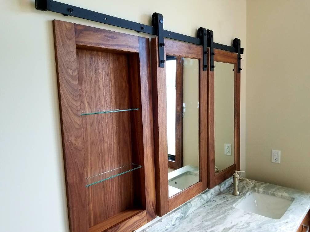 Barn door walnut medicine Rustic bathrooms