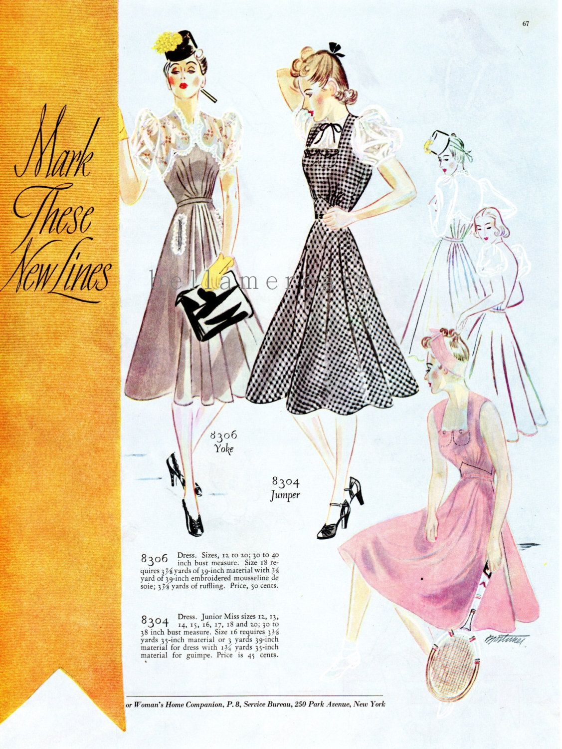 4c80f9898ea926 1939 Fashion Illustrations Companion-Butterick 8306 and 8304 | 1930s ...