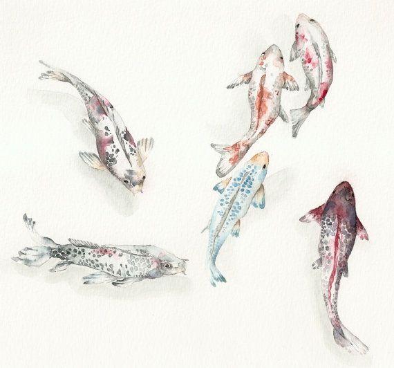 Koi fish art print watercolor 8 x10 39 39 blue pink for Pink koi fish