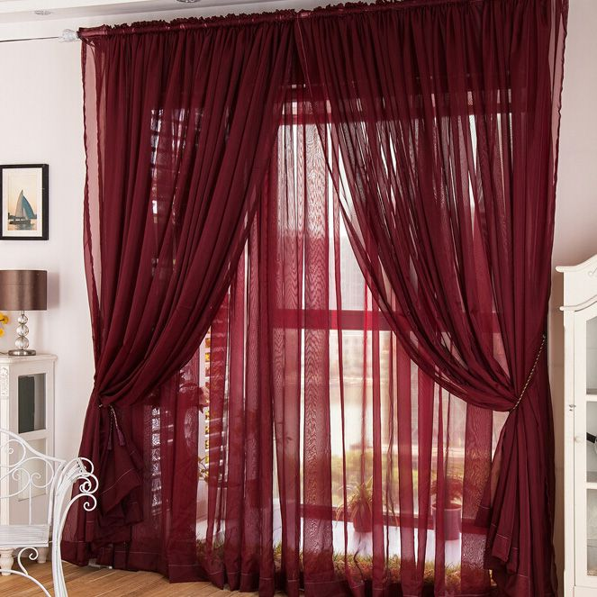 Flowing Wine Color Yarn Solid Sheer Curtains Minimalist Living Room Brown Furniture Living Room Living Room Decor Furniture #white #curtains #living #room #ideas