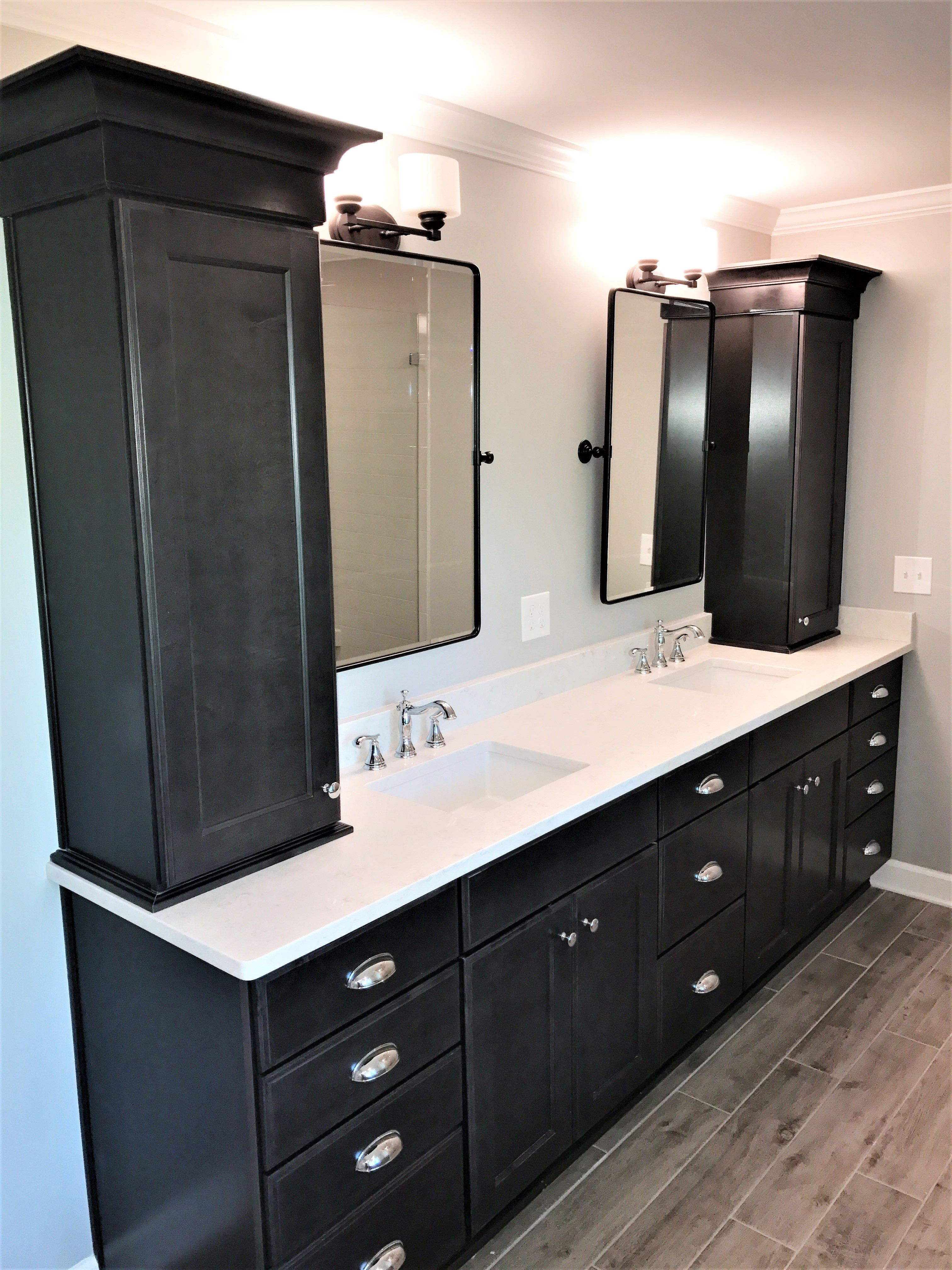 Gray White And Black Master Bathroom Master Bath Vanity Is