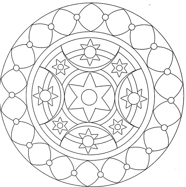 Mandala With A Simple Pattern Coloring