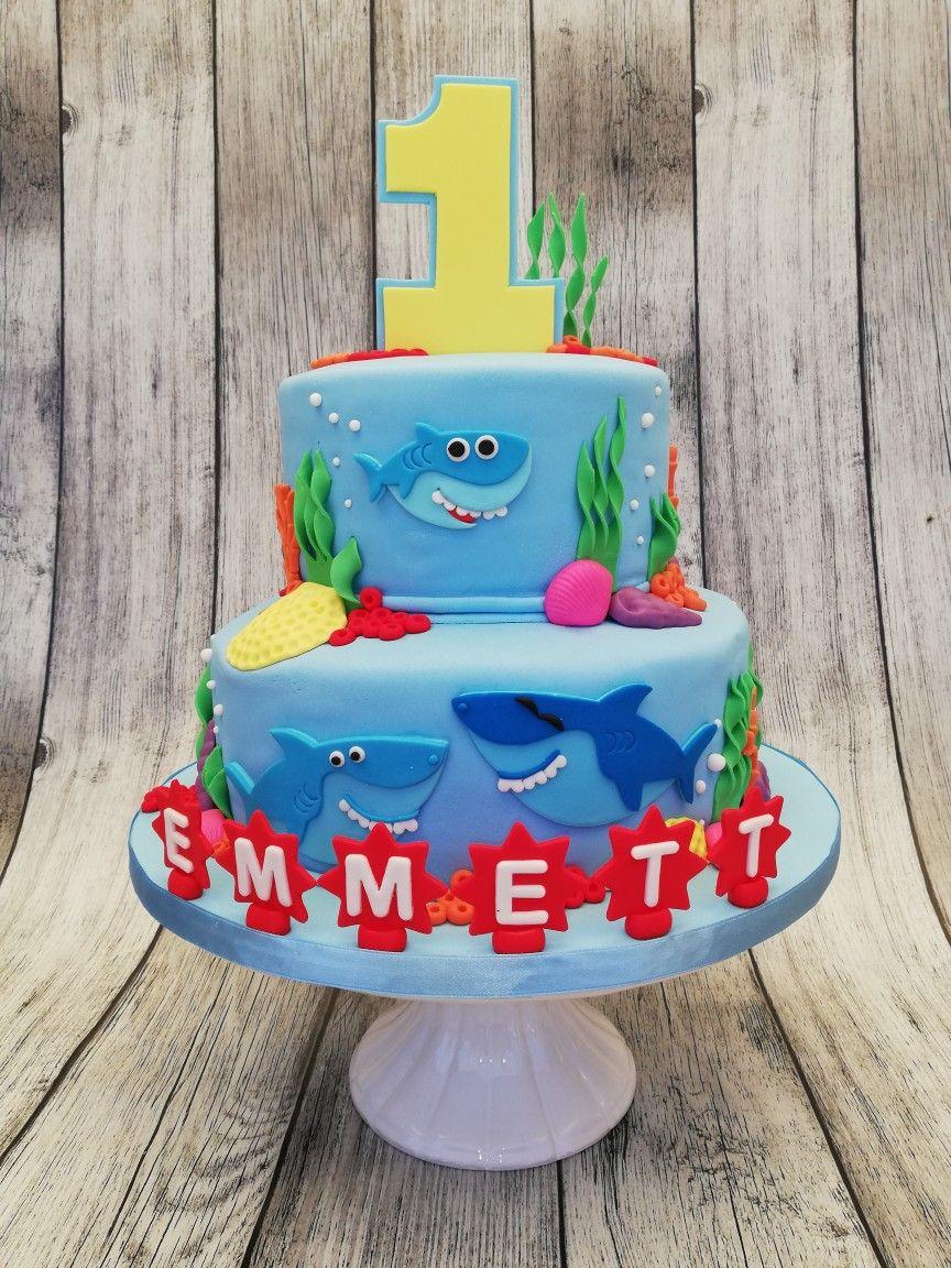 Baby Shark 1st birthday cake Baby first birthday, Cake