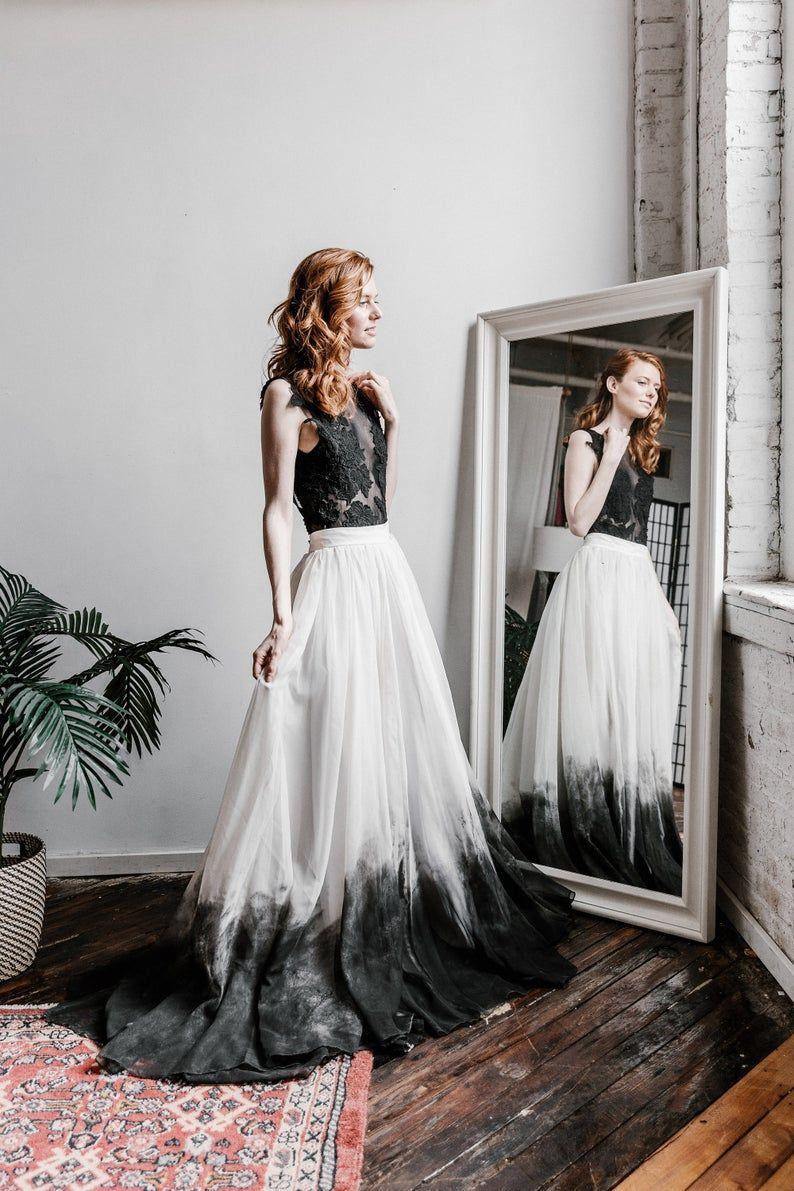 Cordelia Skirt 10 Train Bridal Skirt Dip Dyed Etsy Ombre Wedding Dress Bridal Skirts Two Piece Wedding Dress [ 1191 x 794 Pixel ]