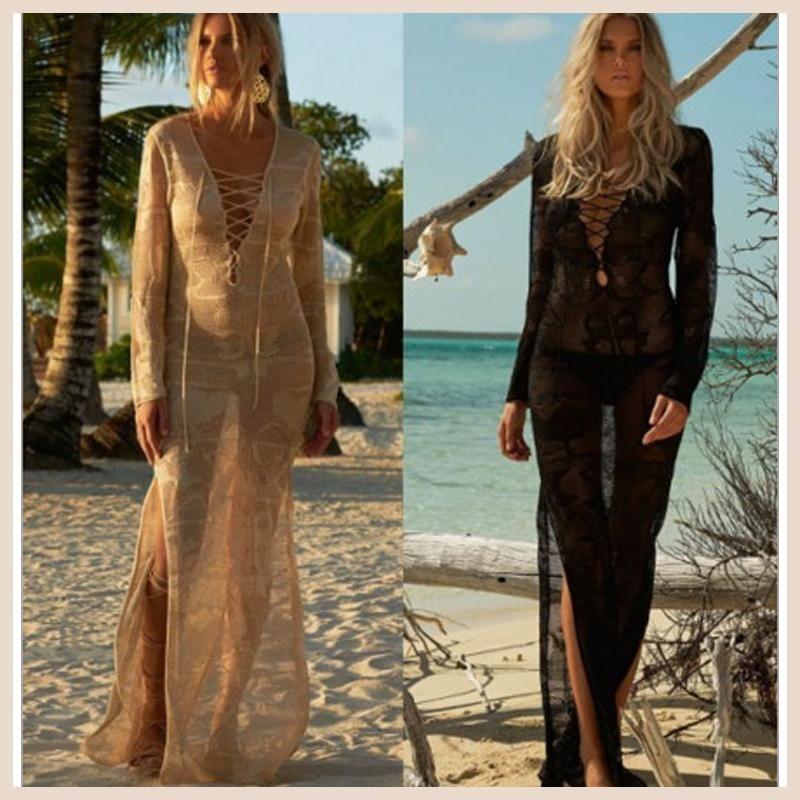 Summer Dress Beach Bikini Cover Up Swimwear Kaftan Tunics For Knitting Bandage Skirt Long Sleeve Serviette De Plage Ronde Toalla