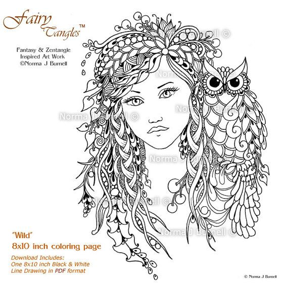 Wild Woodland Fairy Owl Fairy Tangles Adult Printable Coloring