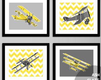 Boys Airplane Nursery Art Wwi Aircraft Set Of Four